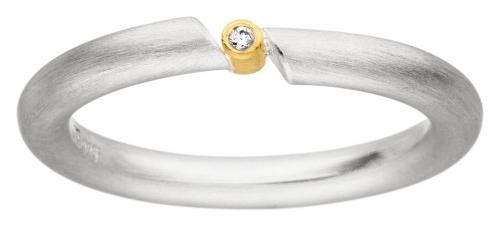 Schlichter Ring mit einem kleinen Brillanten passend zu jeder Gelegenheit.