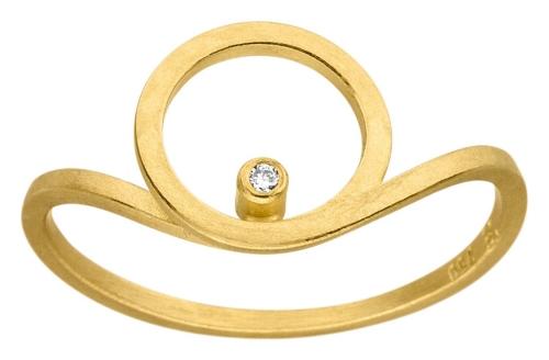 Schlichter Ring in 750 Gelbgold, mit runden Formen, besetzt mit einem Brillanten.