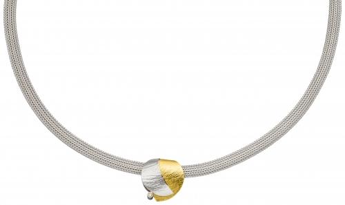 Aussagekräftiger Halsschmuck in 42 cm Länge, 925 Sterlingsilber und goldenem Schmuckelement.