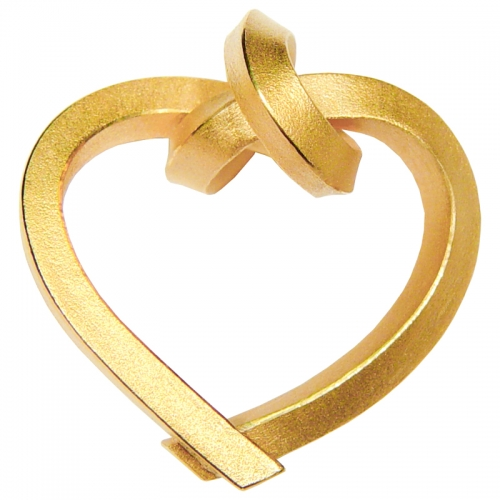 KNOTENSCHMUCK, gebundenes Herz. Ein klarer Anhänger in dem Symbol für die Verbundenheit zweier Menschen