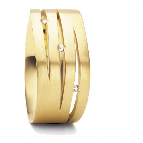 Niessing Fontana, ein 9 mm breiter Ring bestehend aus 750 Golbgold und besetzt mit 3 Brilllanten, sie verkörpern die Träume.