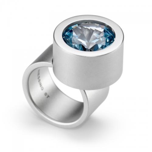 Niessing Max, der Ring. Edelstahl mit synthetischem Zirkon in feurigem Blau. N291936