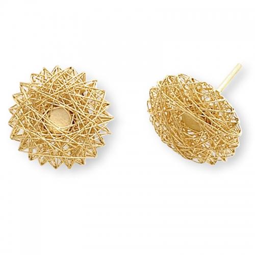 Niessing Filo D´oro, Ohrschmuck in Gold. Ein kunstvoll gewickelter Goldfaden wird zu einem Körper.