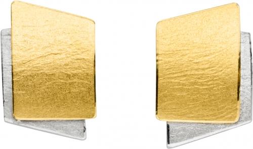 Ohrschmuck in 925 Silber mit Clip-Verschluss, einzelne Elemente in Gold.