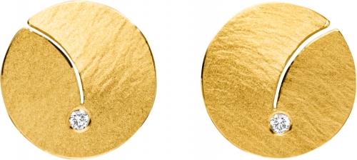 Moderner Ohrschmuck in runder Form mit Stiftern in Gold 585.