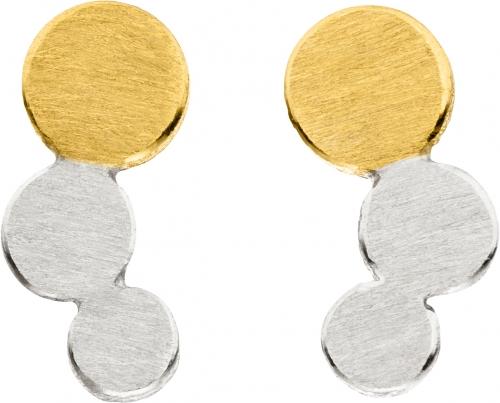 Kreisrunder, dezenter Ohrschmuck in 925 Silber mit Elementen in 22 Karat Gold veredelt.