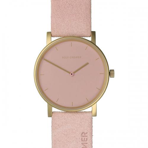 Rolf Cremer. Design in Uhren. Pur. Damenuhr in schlichtem rosa mit angerautem Echtlederband.