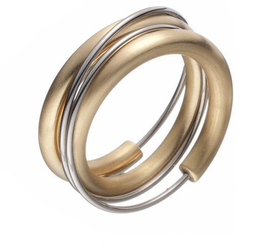 Ring Hula, eine ungewöhnliche Formm mit Gold plattiert.