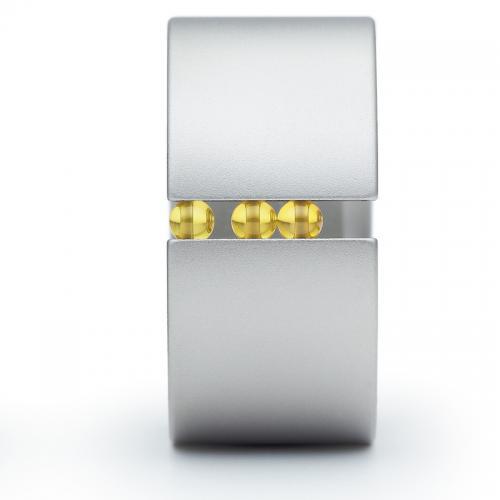 Edelstahlring mit gelben Kugeln aus synthetischem Korund