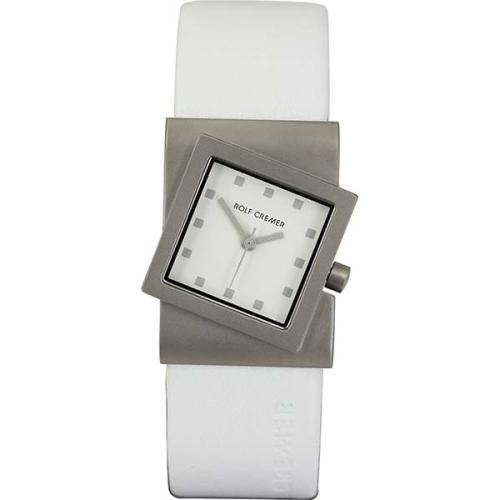 Rolf Cremer . Design in Uhren. Die Turn. Damenuhr mit schräger Form in strahlendem weiß.