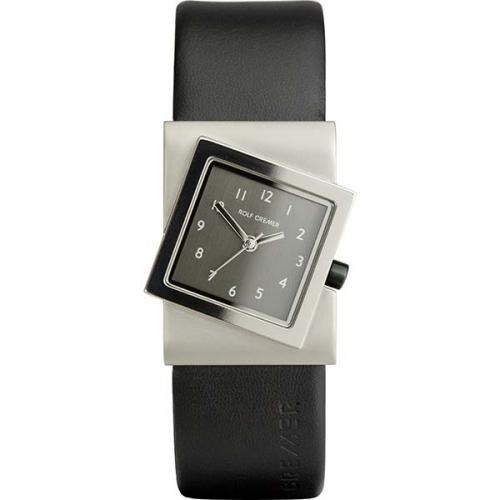 Schön schräge Uhr in elegantem schwarz.