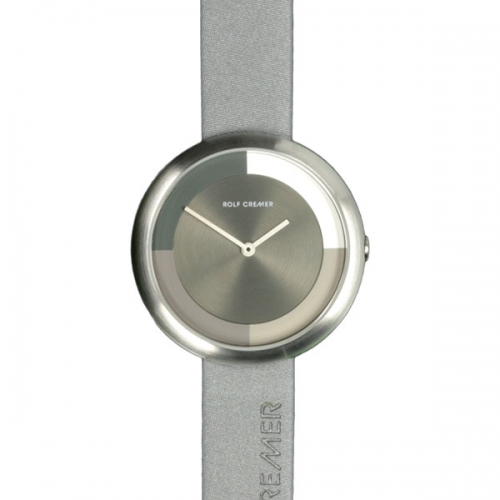 Elegante Damenuhr in runder Form in schlichten Grau- und Silbertönen.